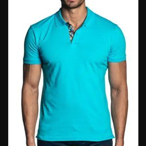 Jared Lang Blue Short Sleeve Classic Knit Polo Top